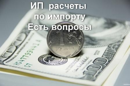 ИП расчеты по импорту валютой